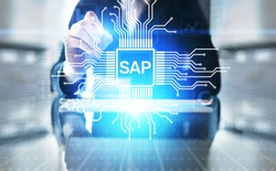 SAP - Business process automation software. ERP enterprise resources planning system concept on virtual screen.