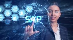 SAP System Software Automation concept on virtual screen data center. Business, modern technology, internet and networking concept.