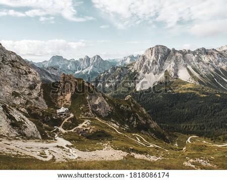 Sappada, alpine landscape in Alpi Orientali. View of Rifugio Calvi, near the source of Piave River. Foto d'archivio ©
