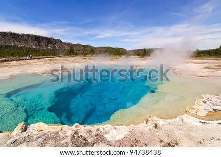 Sapphire Pool at Biscuit Basin in Yellowstone National Park, Wyoming.