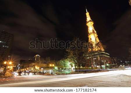 Sapporo, Japan - FEBRUARY 11 : Night view of Sapporo TV Tower on February 11, 2014 in Sapporo,Japan,Japan.This tower is located on Odori Park in the heart of Sapporo.