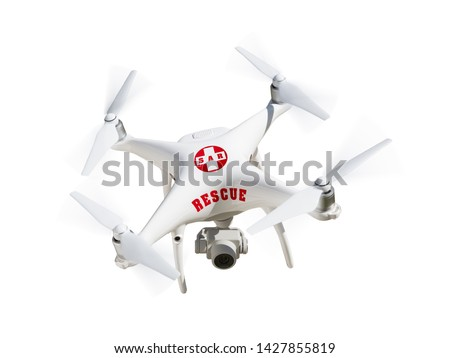 SAR - Search and Rescue Unmanned Aircraft System, (UAS) Drone Isolated On A White Background.