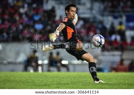 SARABURI THAILAND-AUGUST 15:Narong Wongthongkam of Sisaket F.C. in action during Thai Premier League between Saraburi Fc and Sisaket F.C. at Saraburi Stadium on August 15,2015 in Saraburi Thailand