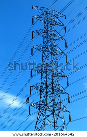 SARABURI-THAILAND-MAY 19 : 500 kV extra high voltage transmission line under installation of line conductor and hardware accessories on May 19, 2015 in Saraburi Province, Thailand