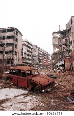 SARAJEVO, BOSNIA - DECEMBER 1: The city of Sarajevo stands in ruin after three years of siege and civil war on Dec 1, 1996 in Sarajevo, Bosnia.