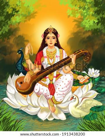 Saraswati devi Goddess, Happy Vasant Panchami Indian festival, Goddess Maa Saraswati, Indian God Stockfoto ©
