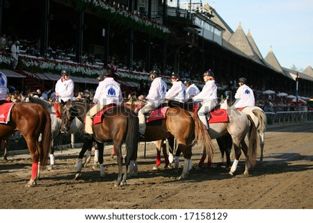 SARATOGA SPRINGS - August 23: Pony Boys wait to pick up horses for the Post Parade before the 139th Running of the Travers Stakes August 23, 2008 in Saratoga Springs, NY.