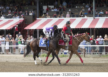 SARATOGA SPRINGS, NY - August 29, 2015: Competitive Edge in the Post Parade for the King\'s Bishop Stakes on Travers Day at Historic Saratoga Race Course on August 29, 2015 Saratoga Springs, New York