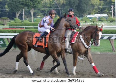 "SARATOGA SPRINGS, NY- SEPT 7: Corey Nakatani on ""Tejida"" in the post parade for the Grade III Glens Falls Stakes at Saratoga Race Track, September 7, 2009 in Saratoga Springs, NY."