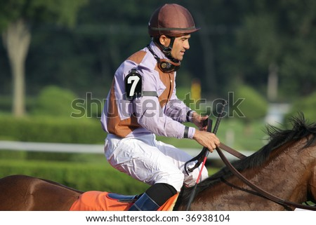 "SARATOGA SPRINGS, NY- SEPT 7: Corey Nakatani on ""Tejida"" return after the running of the Grade III Glens Falls Stakes at Saratoga Race Track, September 7, 2009 in Saratoga Springs, NY."