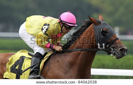 "SARATOGA SPRINGS, NY -SEPT 3: Jockey Jeremy Rose pilots ""SouthbeachSandy"" to victory in an allowance race at Saratoga Race Course on Sept 4, 2011 in Saratoga Springs, NY."