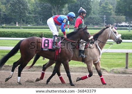 """SARATOGA SPRINGS, NY- SEPT 5: """"Soave"""" with Kent Desormeaux aboard in the post parade for the 4th race at Saratoga Race Track, September 5, 2009 in Saratoga Springs, NY."""