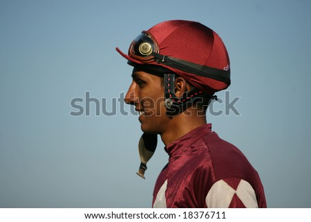 SARATOGA SPRINGS - September 1: Closeup of Winning Jockey Rajiv Maragh Outside the Winners Circle after the Grade III Glens Falls Stakes on September 1, 2008 in Saratoga Springs, NY