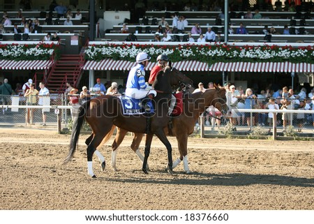 SARATOGA SPRINGS - September 1: Dynaforce with Kent desormeaux Aboard in the Post Parade for the Grade III Glens Falls Stakes on September 1, 2008 in Saratoga Springs, NY