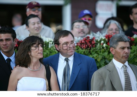 SARATOGA SPRINGS - September 1: Hostess trainer H. James Bond in the Winners Circle after the Grade III Glens Falls Stakes on September 1, 2008 in Saratoga Springs, NY
