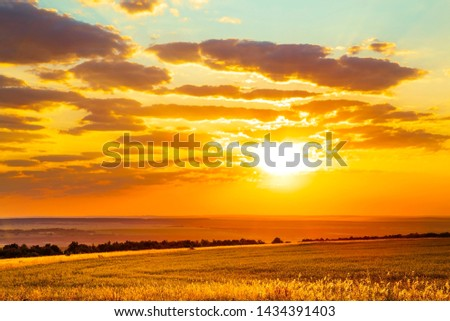 Saratov region, travel, landscape and nature of Russia. Yellow golden orange dramatic dawn at dawn or dusk over endless fields, hills, meadows. The sun rises in the morning above the horizon #1434391403