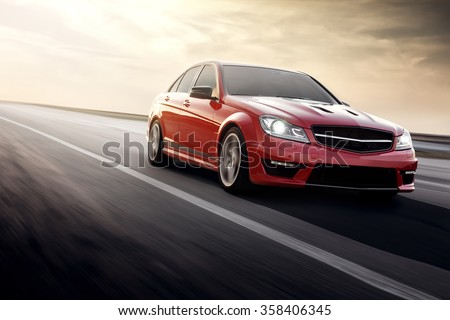 "stock photo saratov russia august red sportcar mercedes benz c amg fast speed driving on the 358406345 - Каталог - Фотообои ""Автомобили"""