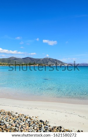 Sardinia. Coastal jewels of unparalleled splendor make it one of the most attractive tourist destinations in Sulcis, exactly at the south-western end of Sardinia. Fine sand and crystal clear sea.