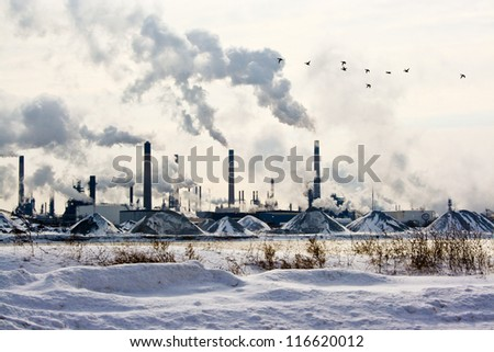 Sarnia Petrochemical Refinery. View of a petrochemical refinery in Sarnia, Ontario, Canada as seen across the river from Port Huron, Michigan. A flock of Canadian geese flies through.