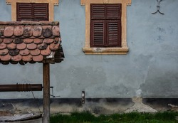 Saschiz, Romania - Medieval fortified church in Transylvania, saxon travel sight.