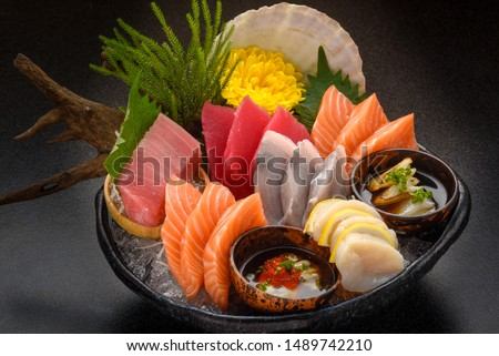 Sashimi Japanese food, Sashimi set. Salmon, wasabi, fish, shrimp. Foto d'archivio ©