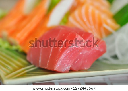 sashimi, raw fish or raw tuna