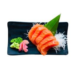 Sashimi, Salmon, Japanese food style and wasabi isolated on white background. Japanese food style.