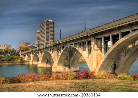 Saskatoon Broadway Bridge. HDR image created by combining three different exposures. - stock photo