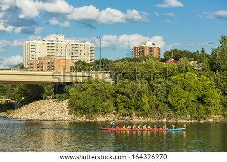 Saskatoon, Canada - July 16:  Dragon Boat Races on the South Saskatchewan River on July 16, 2013 in Saskatoon, Canada