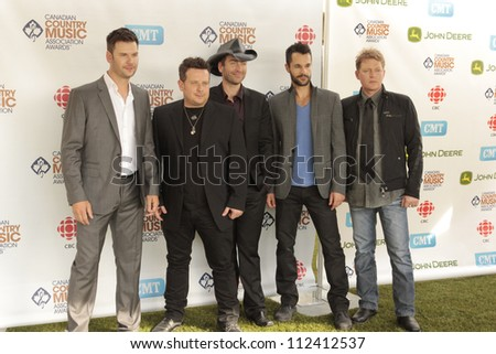 SASKATOON, CANADA - SEPT 9:  Emerson Drive arriving on the Green Carpet of the 2012 Canadian Country Music Association Awards at Credit Union Centre on September 9, 2012 in Saskatoon, Canada