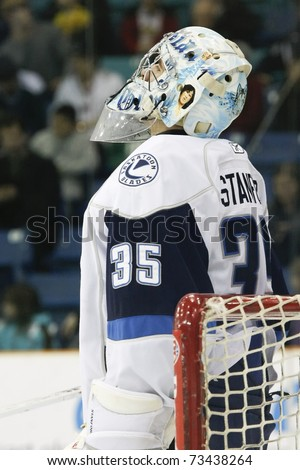 SASKATOON - MARCH 17: Goalie Steven Stanford of the Saskatoon Blades looking at the score board in a game between the Moose Jaw Warriors and the Saskatoon Blades on March 17, 2011 in Saskatoon, Canada.