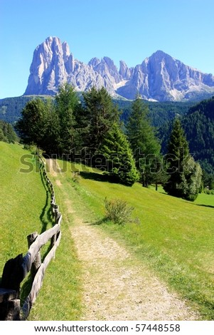 Sassolungo and Sassopiatto as seen from Ortisei in Val Gardena, Dolomites