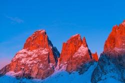 Sassolungo area from Sella mountain pass in winter of Dolomites mountain range of Italy, Europe, Unesco World Heritage Site