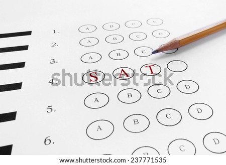 SAT text in red on a multiple choice test