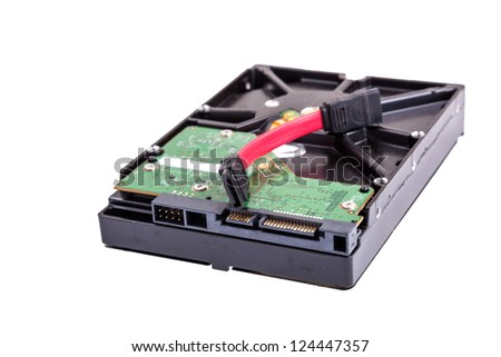 SATA connecter and a hard disc studio shoot with isolated white background