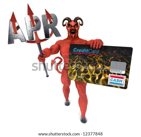 Satan holding out a credit card on a white background