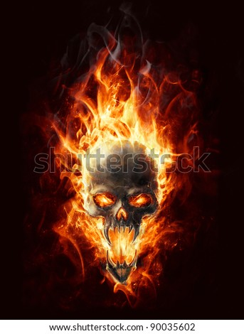 satanic burning skull bringer of doom