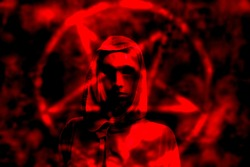 satanic priest in red background
