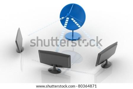 Satelite dish and monitors isolated on white background