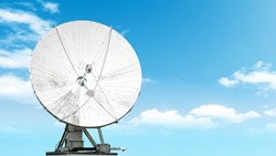 satellite antenna isolated on blue sky background Front view of modern radio communication equipment Digital tv broadcast signal receiving system wide copy space design backdrop