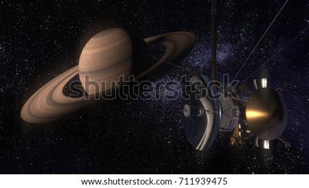 Satellite Cassini is approaching Saturn. Cassini Huygens is an unmanned spacecraft sent to the planet Saturn. Elements of this photo furnished by NASA.
