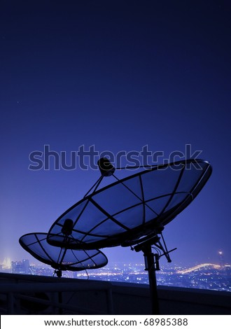 satellite communication disk on evening background