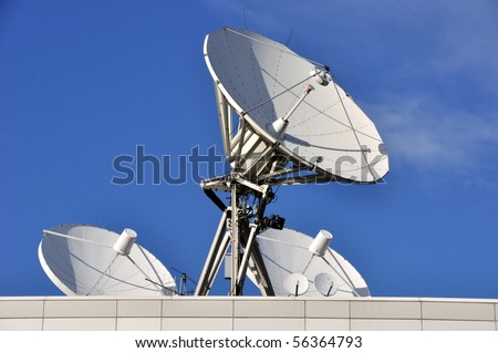 Satellite Communications Dishes on a Roof