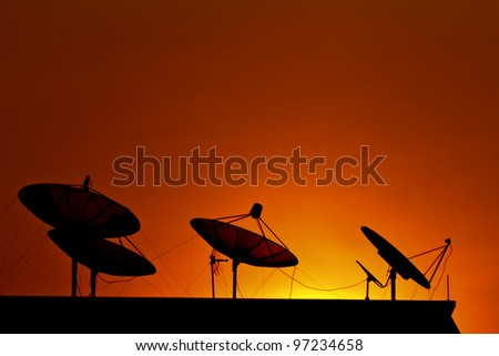Satellite communications. On the evening sky.