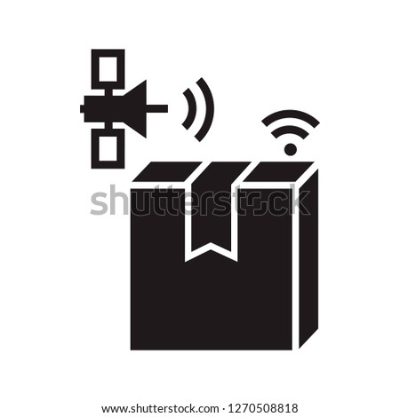 Satellite delivery box tracking icon. Simple illustration of satellite delivery box tracking icon for web design isolated on white background