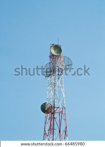Satellite disc against blue sky