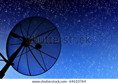 satellite disc against twilight sky - stock photo