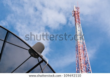 Satellite Dish and Mobile phone communication antenna tower.