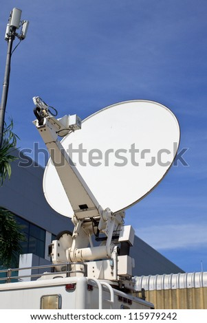 satellite dish antennas blue sky
