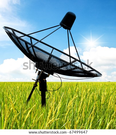 satellite dish antennas in field